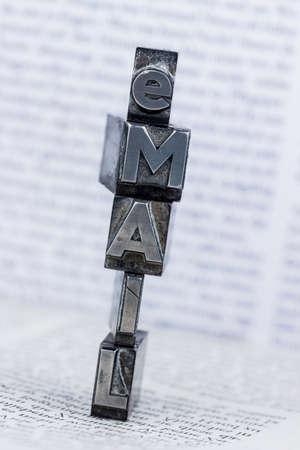 E-mail written in lead letters