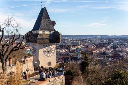 austria, styria, graz, clock tower Stock Photo