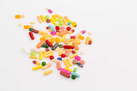 many colorful tablets Stock Photo
