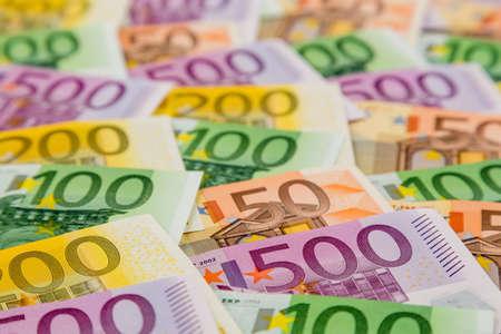 many different euro bills Stock Photo