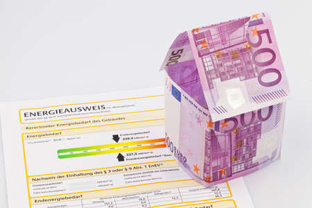 house made of euro banknotes and energy pass