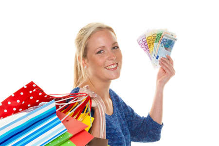 woman with shopping bags while shopping Stock Photo