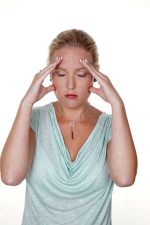 woman with migraine Stock Photo