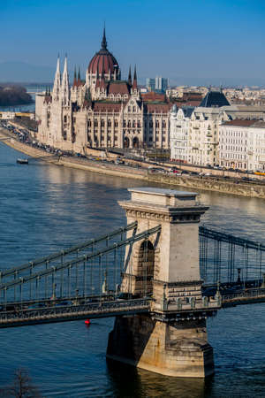 hungary, budapest. the chain bridge and the parliament are landmarks of the hungarian capital. Stock fotó