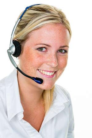 Frau mit Kopfhörer im Kundendienst
