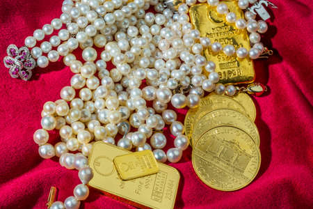 gold and jewelry Stock Photo