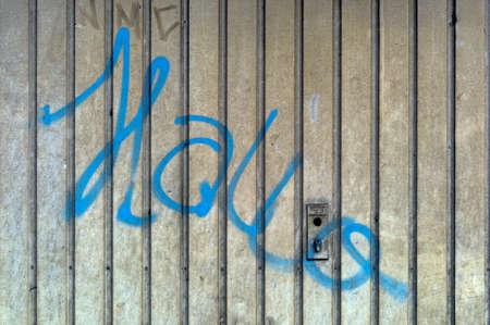 garage door graffiti hello