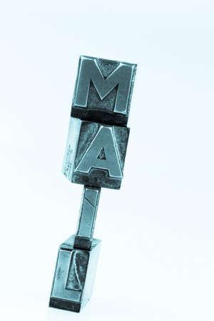 e-mail written in lead letters Foto de archivo