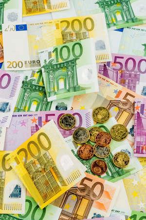 many different euro bills Foto de archivo