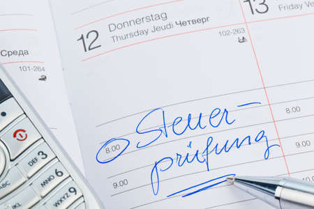 entry in the calendar: tax audit