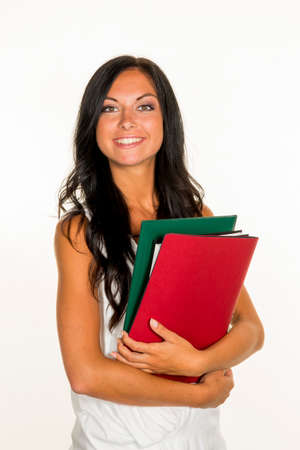student with college folders