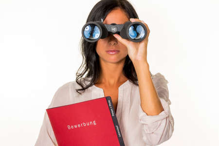 woman with application folder Foto de archivo