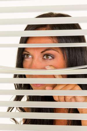 young woman is watching Foto de archivo