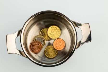 coins in a saucepan