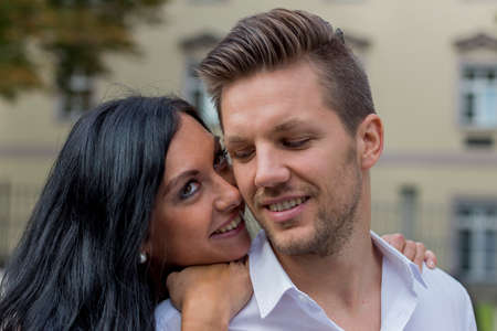 loving couple in urban environment Standard-Bild
