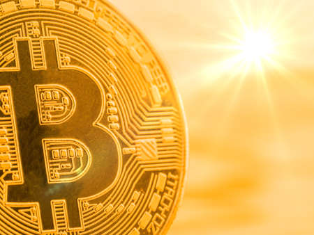 physical bitcoin coin. symbolic photo for digital and virtual currency