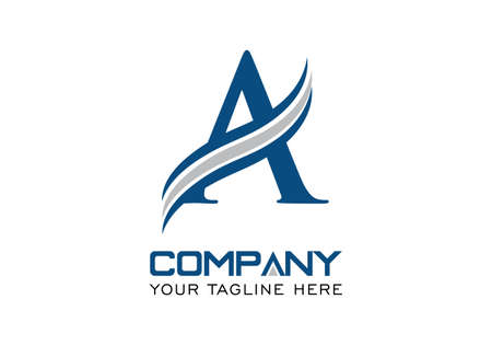 A bold Initial Letter A with triple swoosh vector logo in blue and gray color combo