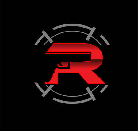 Monogram  with letter R for gun tactical game Ilustracja