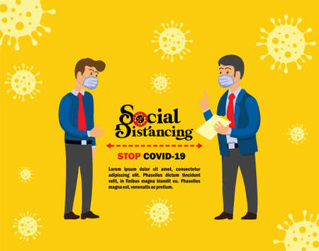 An illustration to represent social distancing campaign to stop the spread of covid-19
