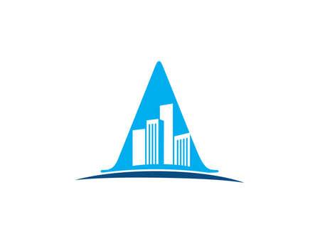 A vector logo for building inside letter A