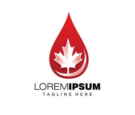 A vector illustration of canadian oil or red water drop sign logo