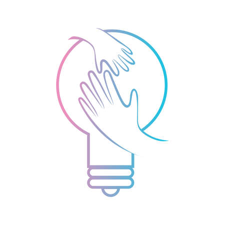 A vector Illustration logo for supporting developmental health with mature hand and children hand inside the bulb symbol