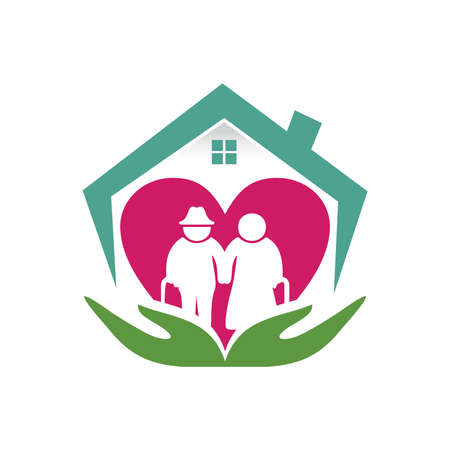 A vecrtor illustration of home care love and clean logo