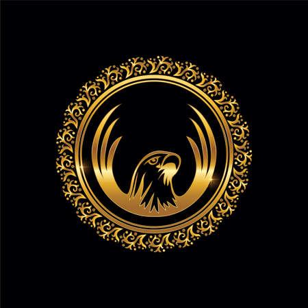 A vector illustration of Gold Eagle Circle Logo Frame