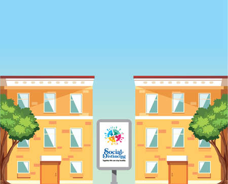 A vector illustration of twin building with sign banner
