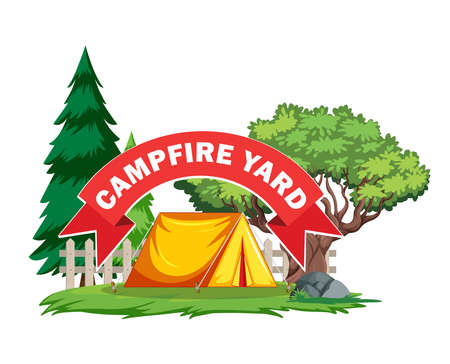 A vector illustration of yard with campfire tend with tree and pine tree outside the fence