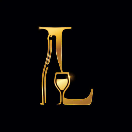 A vector Illustration of Gold Letter L with Wine Bottle and Glass