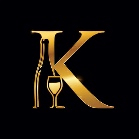 A Vector Illustration of Gold Monogram Letter K for Wine Bottle and Glass in black background