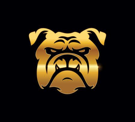A Vector Illustration of Golden Bulldog Logo Sign in black background Ilustração
