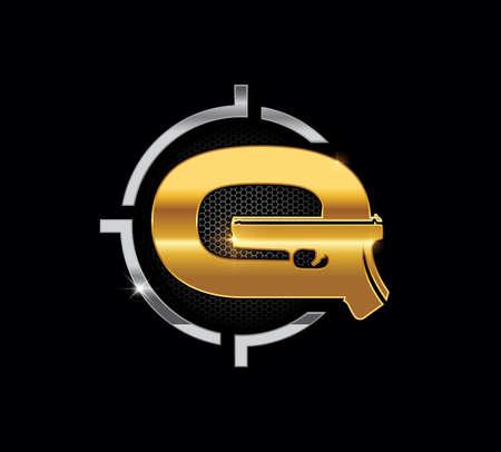 A Vector Golden Pistol Monogram Initial Letter G Logo Sign