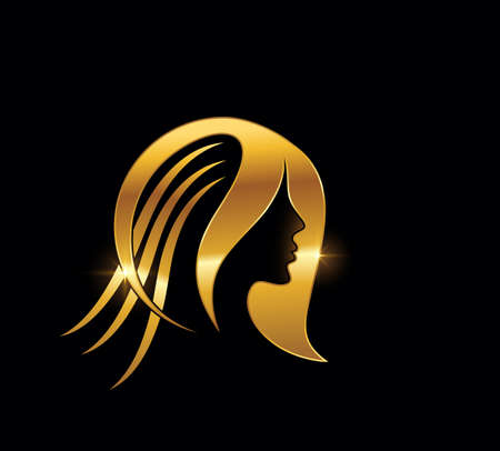 A Vector Golden Hair and Beauty Illustration Sign