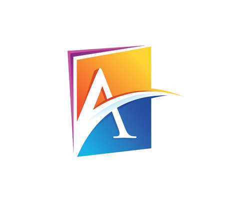 A Vector Illustration of Monogram Book Initial Letter A