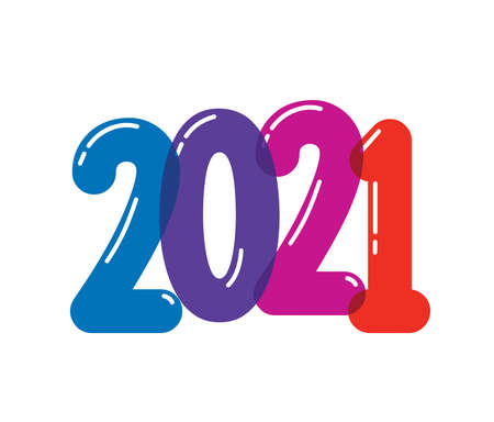 A Vector Illustration of 2021 colorfull vector Sign with blue purple, red and orange color 일러스트
