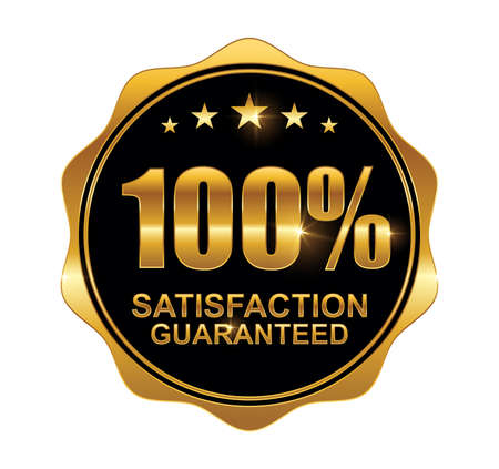 A vector illustration of Golden 100% Guarantee Logo Sign with golden shine effect