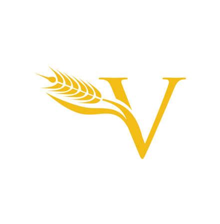 A vector Logo Illustration of Wheat Grain Initial Letter V