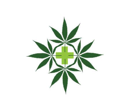 A Vector Illustration of Medicine Cannabis Leaf Logo Sign