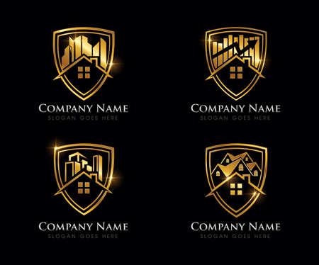 A Vector Illustration of Golden Real Estate Logo Sign
