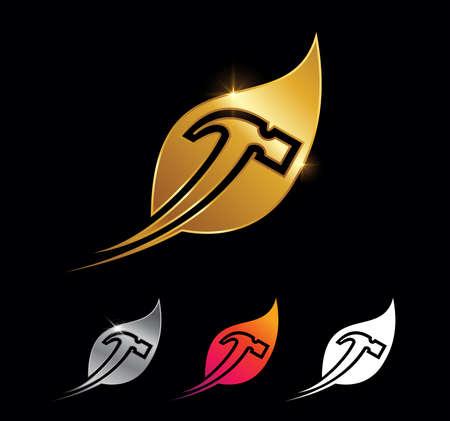 A vector Illustration set of Golden Hammer and Leaf Sign