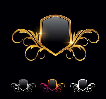 A Vector Illustration vector set of Golden Shield Frame Vector Sign