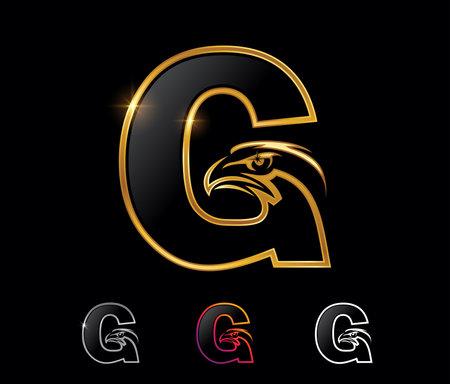 A vector illustration set of Golden Eagle Monogram Letter G Vector Sign