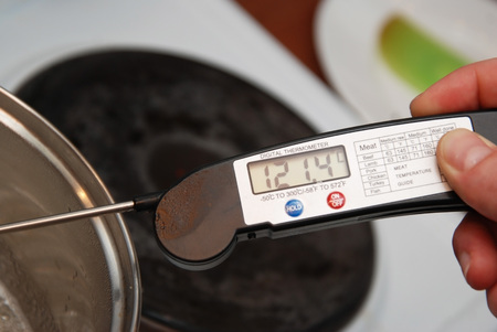 Measuring the Temperature of Sugar Boiling or Caramel Syrop