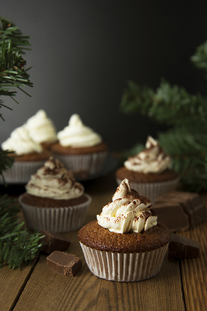 Chocolate cupcakes with whipped cream on rustic wooden table. Banco de Imagens