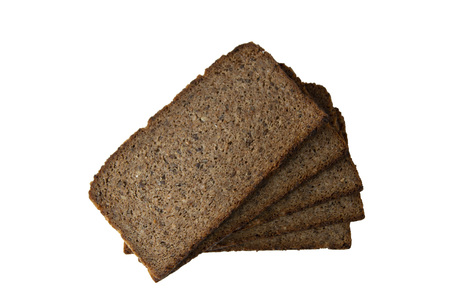 Many slices of rye bread with bran isolated on white