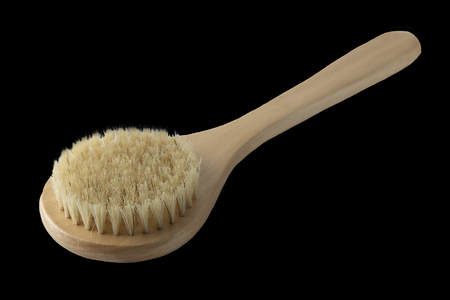 Zero waste bathroom accessories, natural sisal brush isolated,white background. Design element. Eco body, showers brush. Stock Photo