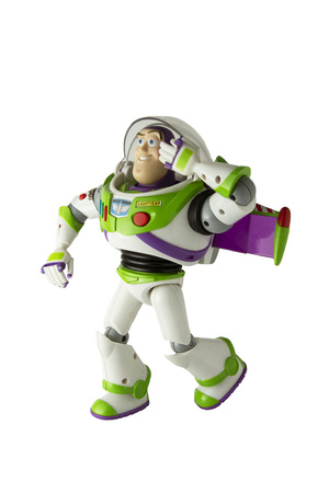 Corby, U.K, March 20, 2019:: Buzz Lightyear robot toy character form Toy Story animation film. There are plastic toys sold as part of the McDonald's Happy meals.