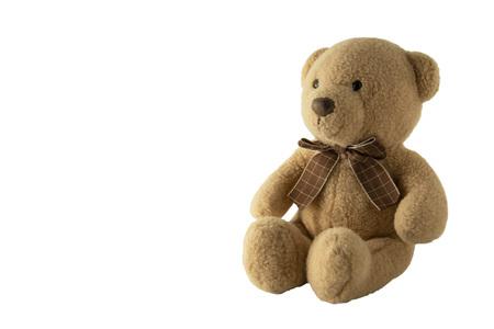 Spielzeug-Teddy isoliert auf weißem Hintergrund, isoliert. Erziehung und Bildung. Schönes Spielzeug. Standard-Bild